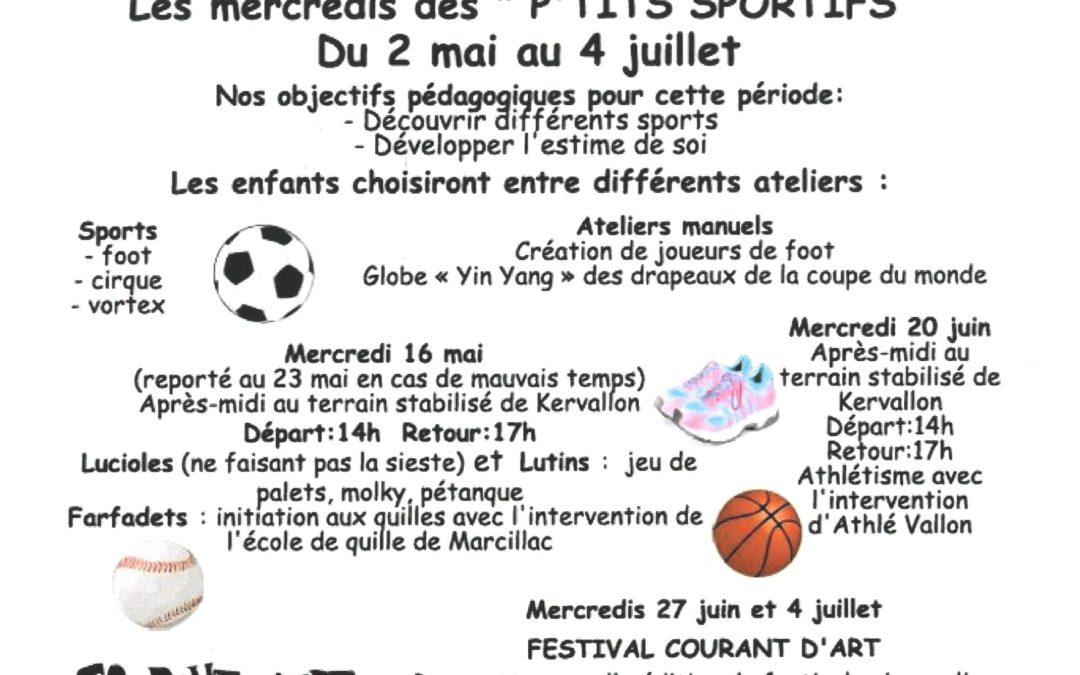 """Les mercredis des """"P'TITS SPORTIFS"""" du 2 mai au 4 juillet"""